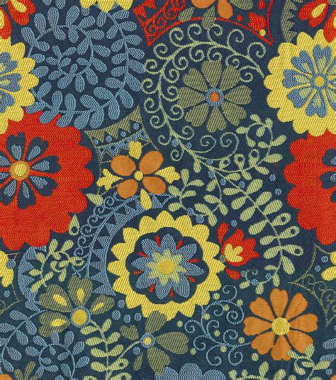 home decor print fabric kas rosina navy jo