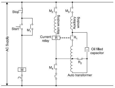 capacitor start motor starting current starter for a two value capacitor motor using a current relay and an auto transformer