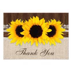 rustic country sunflowers wedding thank you card zazzle