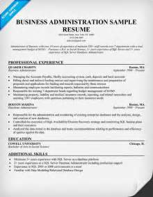 business administration resume sles sle resumes administrative resume exle business finance
