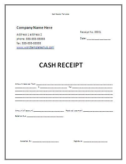 cash receipt template wordtemplateshub com