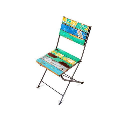 reclaimed marine grade teak chair  iron frame