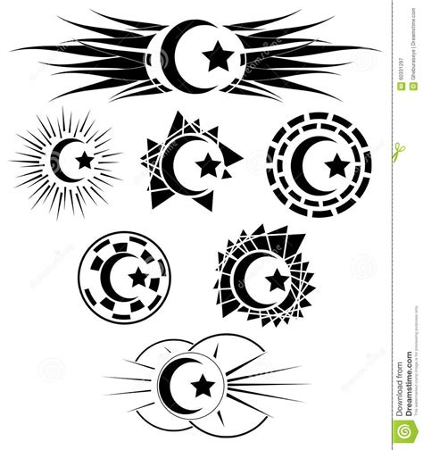 tattoo concept in islam set of decorated half moon with star stock vector image