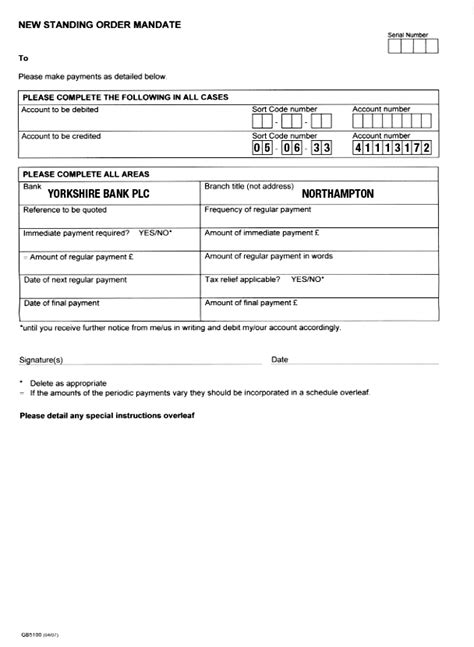standing order form template pin standing order mandate on