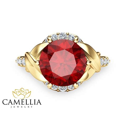 Ruby 6 2ct 2ct ruby engagement ring 14k yellow gold engagement ring