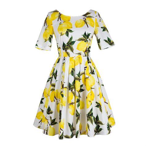 45215 White Autumn Leaves S M L Dress Le180118 Import womens dress white a line green leaf yellow lemon print autumn summer runway designer high