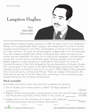 langston hughes biography articles langston hughes historical heroes worksheet education com