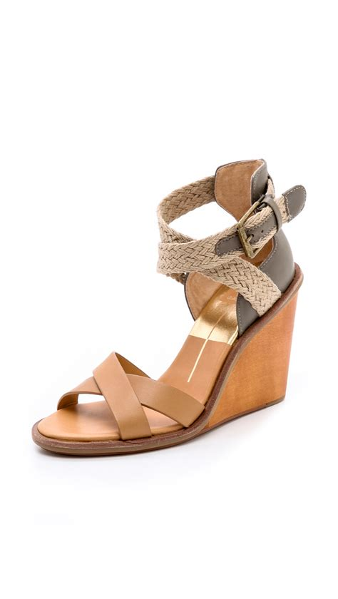 dolce vita wedge sandals dolce vita jarona wedge sandals in brown caramel lyst