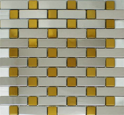 silver mix gold metal mosaic kitchen wall tile backsplash