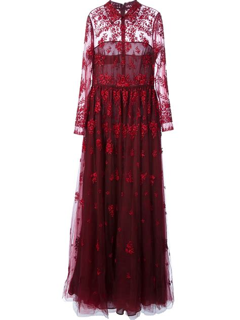 valentino beaded evening dress  red lyst