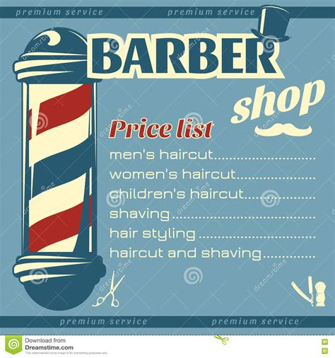 barber shop price list template barbershop price list template stock vector image 71692518