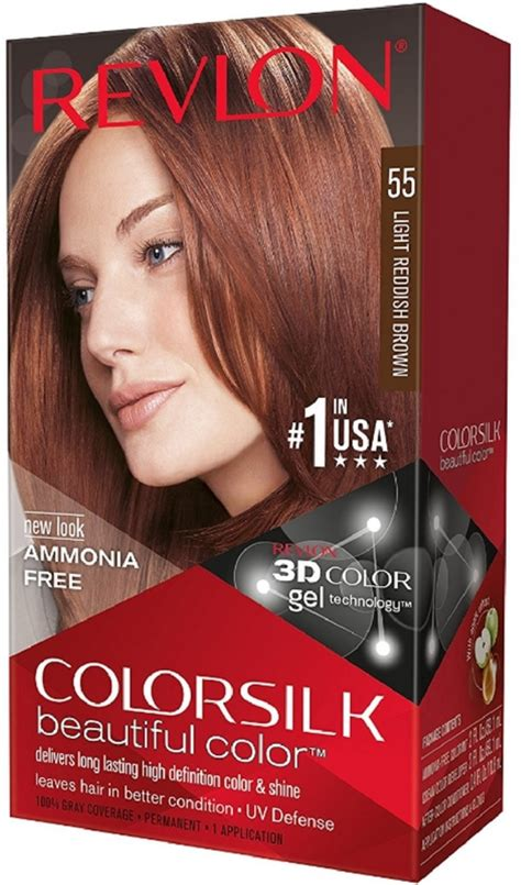 light reddish brown hair color revlon colorsilk hair color 55 light reddish brown 1 each