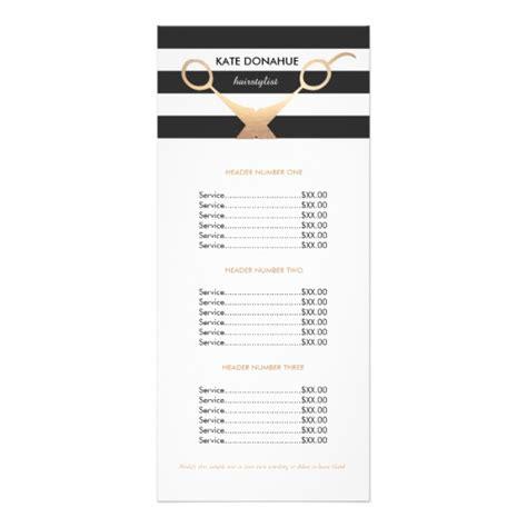 salon rack card template scissors black and white striped salon price list rack