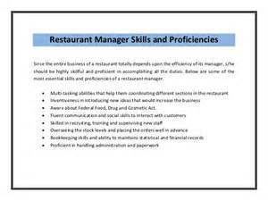 Restaurant Manager Description by Restaurant Manager Resume Sle Pdf