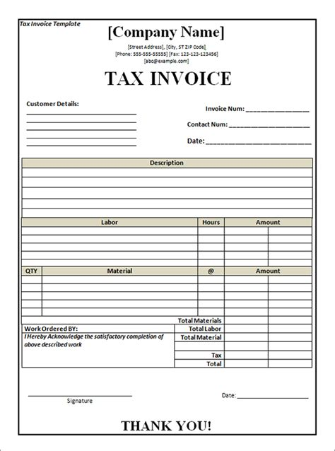 tax invoice template nz free tax invoice template excel invoice exle