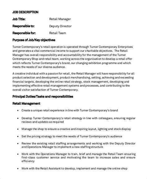 sle general manager description 8 exles in pdf word