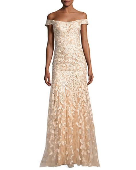 Jovani Off the Shoulder Tulle Leaf Gown, Gold   Neiman Marcus