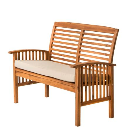 bench loveseat walker edison furniture company boardwalk 48 in brown