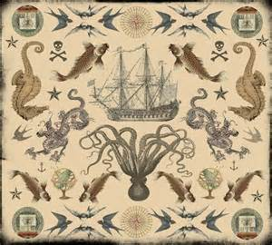 nautical designs silk cloth vintage nautical tattoos