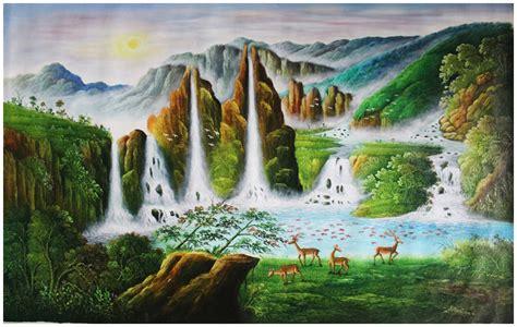 jual lukisan murah lukisan pemandangan hutan dan air terjun