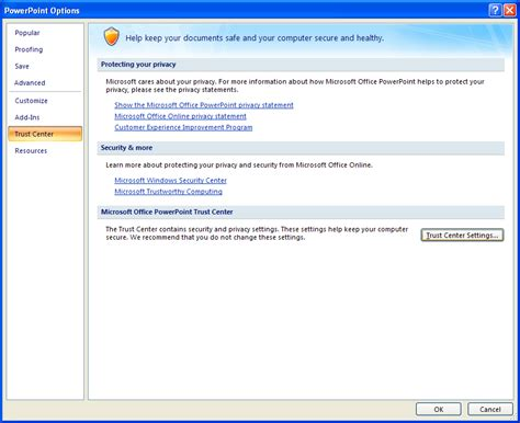tutorial powerpoint microsoft office 2007 set privacy options trust center 171 introduction