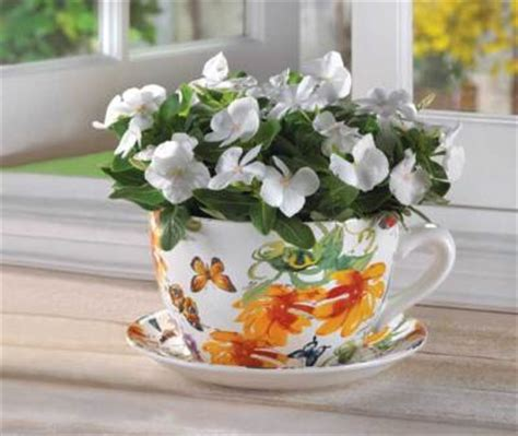 Oversized Teacup Planter by Decornmoreoutlet Large Butterfly Print Teacup Planter