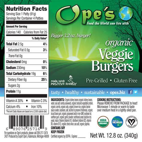 Garden Burger Nutrition by Ope S Veggie Burgers