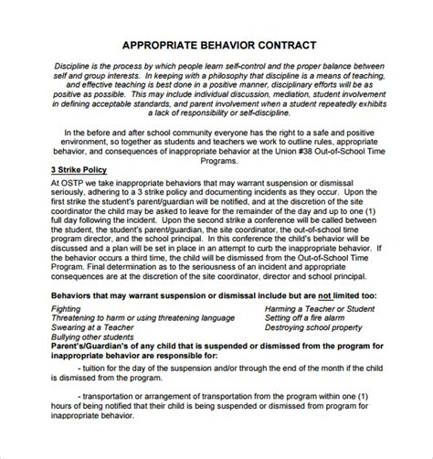 parent child behavior contract template sle behaviour contract 14 free documents in