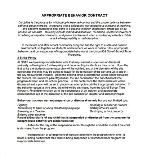 15 Behaviour Contract Templates Sle Templates Behavior Contract Template For Adults