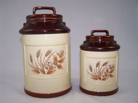 pottery kitchen canister sets vintage ceramic kitchen canister set 2 1960 s handled