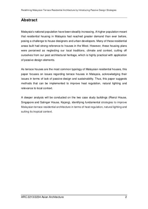 urban design brief terms of reference redefining malaysian terrace residential architecture by