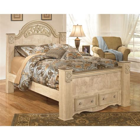 ashley poster bed signature design by ashley saveaha light beige storage poster bed ebay