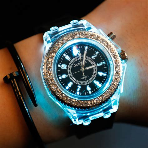 light up watches for womens aliexpress com buy mens geneva women crystal 7