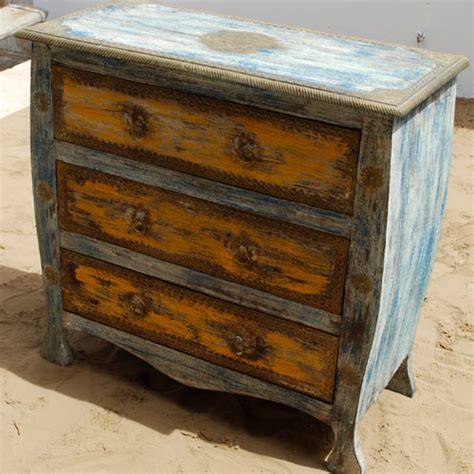 bedroom vanity dresser rustic farmhouse painted distressed 3 drawers brass