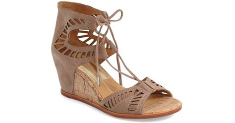 dolce vita wedge sandal dolce vita linsey lace up wedge sandal in brown lyst