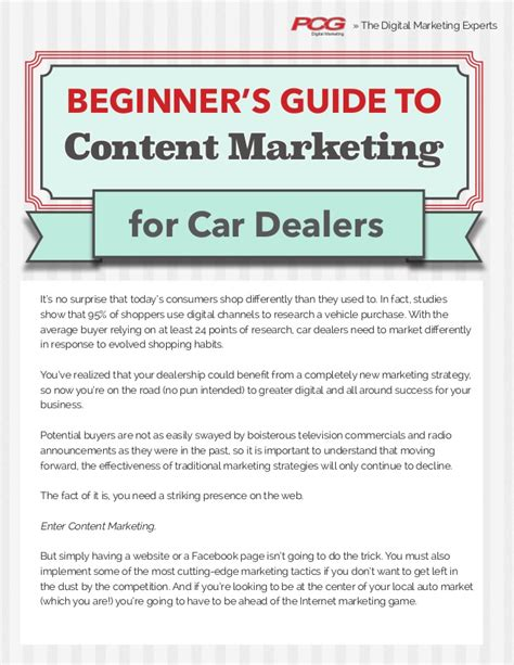 the beginner s guide to content marketing for car dealers