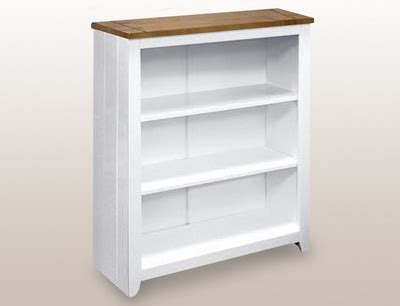 flat packed white and pine low bookcase