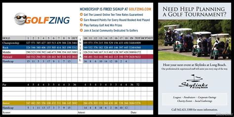 Skylinks Golf Course Actual Scorecard Course Database