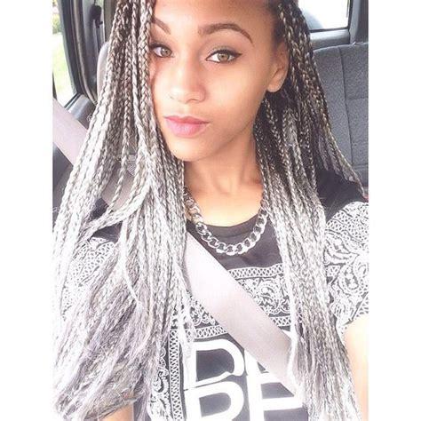 grey braids pinterest grey box braids via miccheckk12 s photo on instagram