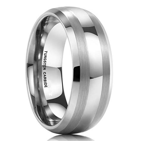 Tungsten Carbide Ring For Classical corso classic two toned brushed tungsten ring 8mm