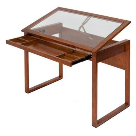 Studio Designs Ponderosa Glass Top Drawing Table Glass Drafting Table With Light