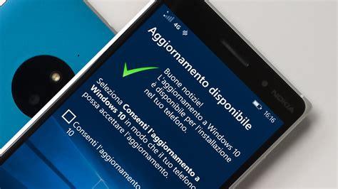 mobile ita aggiornamento ufficiale a windows 10 mobile