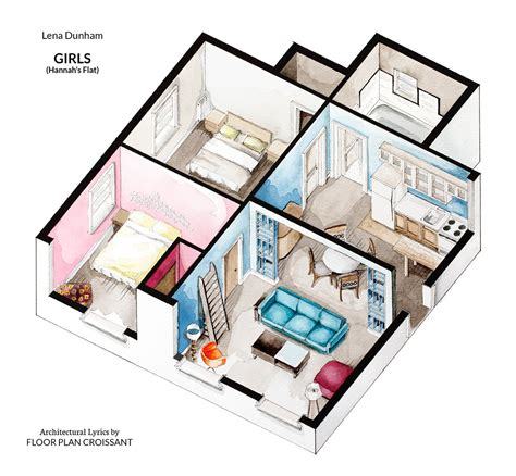 watercolor floorplans from recent television shows and