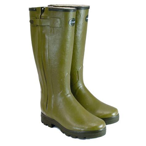 mens le chameau boots wellington boots chasseur fourree zipped wellington