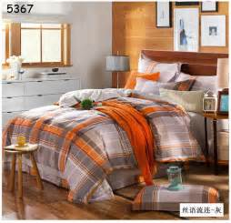 aliexpress com buy grey orange plaids bedding set 4pcs