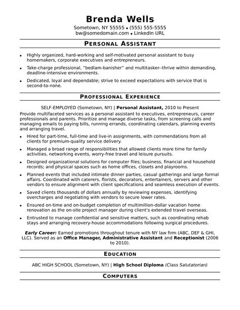 professional resume example for senior executive assistant with