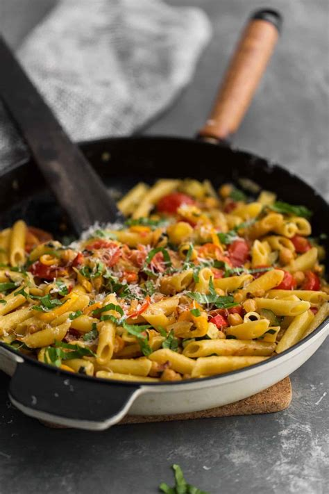 vegetables pasta summer vegetable pasta with chickpeas naturally ella