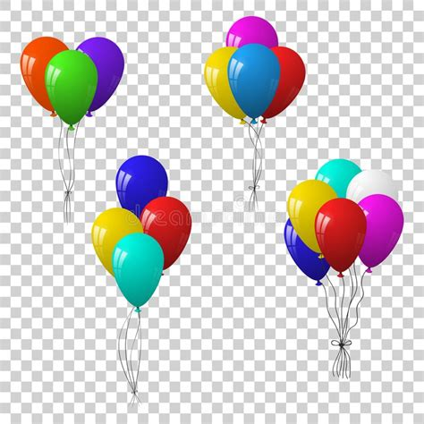 Vector set of bunches and groups of colorful party balloons on transparent background stock