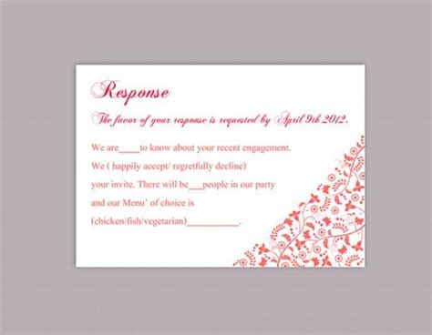 rsvp template word diy wedding rsvp template editable text word file