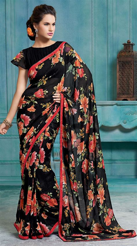 Floral Print Blouse Material For Saree by Black Chiffon Light Floral Printed Border Saree With